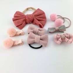 Zestaw ozdób do włosów Pink